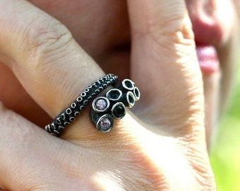 Octopus ring sterling silver tentacle rings tentacle adjustable ring design by Zulasurfing with 2 pink sapphires and a black diamond