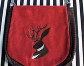 Pouch Spare Pocket Embroidery Jackalope Cameo