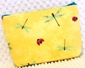 Dragonfly Pouch - Cottage Chic Make Up Bag - Yellow Toiletry Pouch - Purse Organizer Pouch - Large Zipper Pouch - Handmade Make Up Pouch