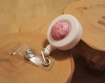 Raspberry Sorbet Sweet Shoppe retractable badge reel with clip