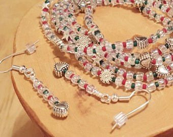 North Pole six red and green Christmas stretchy bracelets and matching earrings PERFECT stocking stuffer available in five different sizes