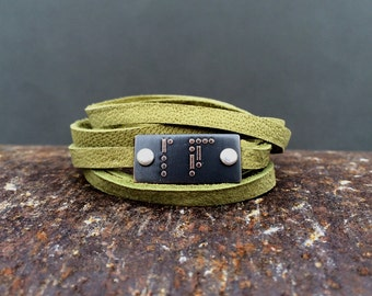 BE FREE Morse code bracelet | etched brass | etched copper | leather wrap bracelet | gift for her