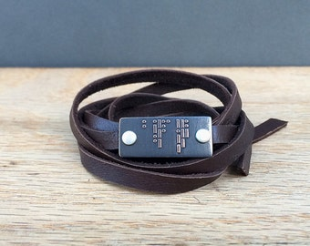 I LOVE YOU Morse code bracelet | leather wrap bracelet | etched brass | etched copper gift for him or her
