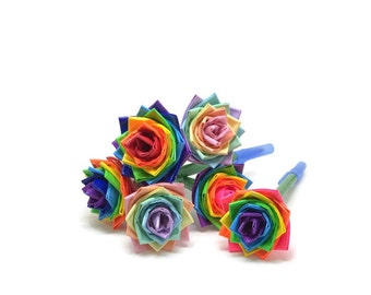 Duct Tape Flower Pens Rainbows - Set of Two