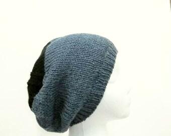 Knitted beanie, blue hat, skullcap, beanie, knit hat  5015