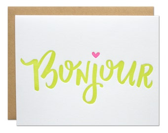 Bonjour Card / Hello Greeting Card / Blank Inside / French Greeting / Neon Green with Pink Heart