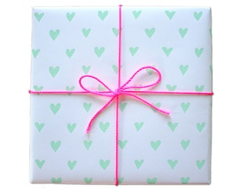 Cheerful Hearts Screen Printed Gift Wrap - 2 Sheets