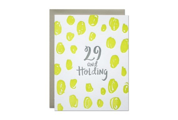 29th Birthday Letterpress Card