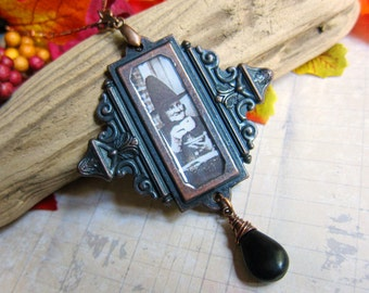 A Witches' Tea Party - Medallion Necklace with Amber and Jet in Antique Copper