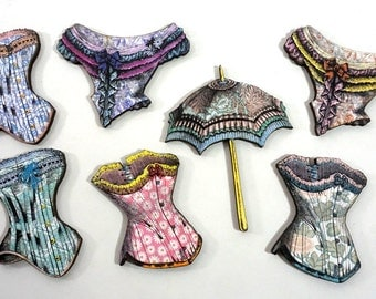 Fancy Victorian Corsets and Parasol - Laser Cut Wooden Craft Pieces