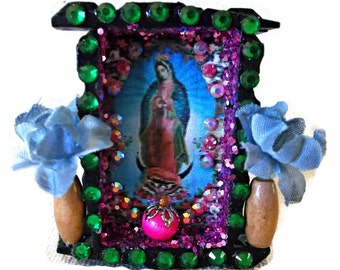 Virgin of Guadalupe, Mexican Wood Nicho, Guadalupe Nicho, Catholic Kitsch, Mexican Folk Art, Day of the Dead, Mexican Retablo, Guadalupe Art