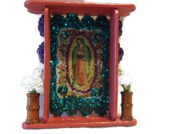 Guadalupe Nicho, Mexican Shrine, Guadalupe Picture, Mexican Wood Nicho, Mexican Folk Art, Catholic Kitsch, Mexican Saint, Mexican Altar