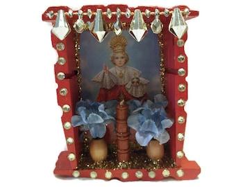 Infant Jesus of Prague, Mexican Wood Nicho, Mexican Jesus, Mexican Folk Art, Jesus Nicho, Jesus Picture, Jesus Shrine, Jesus Altar,