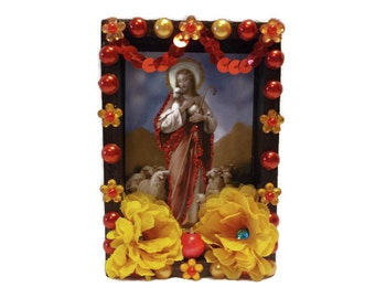 Mexican Wooden Nicho, Jesus Altar, Mexican Ofrenda, Jesus Nicho, Mexican Kitsch, Mexican Magnet, Mexican Wall Art, Mexican Folk Art. Jesus