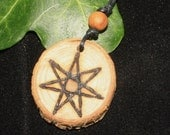 Rare Wych Elm Faery Star Pendant - For The Goddess - Elven Star, Septagram, Pagan, Wicca, Witchcraft
