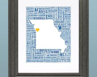 Kansas City Royals Word Art 8x10 Inch Printable