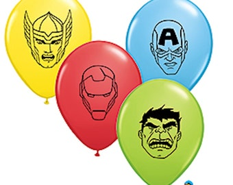 6 Avenger Party Assorted Prtinted Latex Balloons -NEW