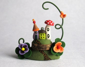 Miniature  Charming Whimsy Fairy House Colony OOAK by C. Rohal