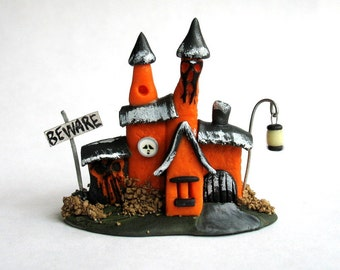 Miniature  Halloween Fairy Witch House  OOAK by C. Rohal