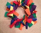 Handmade Rainbow Fabric Christmas Tree Wreath Ornament - Fabric Wreath Ornament - Christmas Ornament - Christmas Decorations - Fabric Wreath