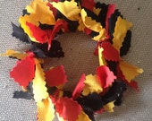 Handmade Black Gold Red Fabric Christmas Wreath Ornaments or Your Choice of Colors - Made to Order - Customizable