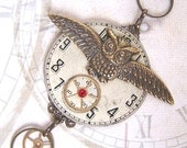 Steampunk Necklace, brass owl, watch parts and gears