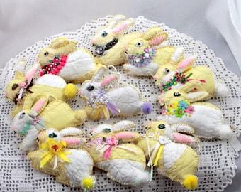 Fragrant Dried Herb & Flower Rabbit Sachets - Sunshine Bunny Quilty Critters - OOAK, Novelty, Ornament, Folk Art