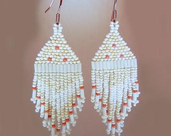 Vintage white, orange, beige seed bead earrings