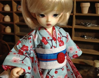 Red Sakura Kimono and obi for 1/6th 26cm YOSD BJD
