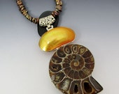 Ammonite Mabe Pearl Chocolate Brown Keishi Pearl Necklace