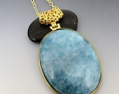 Aquamarine Gold Plated Pendant 14kt Gold Filled LONG Necklace