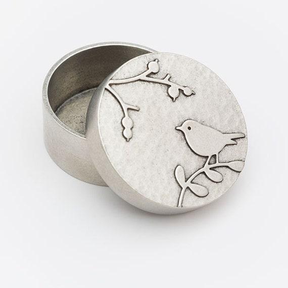 round bird box - hand cast pewter