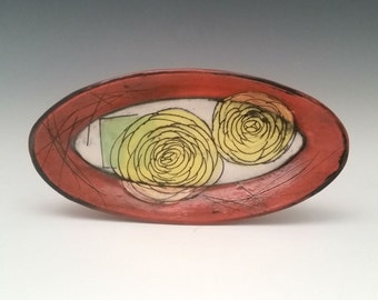 Oval Ceramic Plate with Yellow Roses