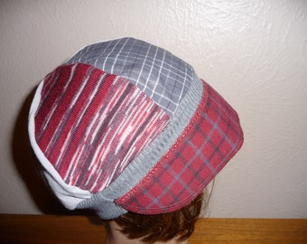 Medium large Jax Hats,burgundy and grey t shirt hat, upcycled hat, recycled clothing hat, chemo hat,  state of Montana, flapper, plaid hat