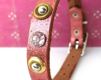 Glitter Pink Leather Dog Collar with Studs and Sparkles, Size S, to fit a 10-13 Neck, Small Dog, Eco-Friendly, Unique, OOAK