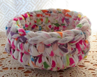 Recycled Fabric Bowl Basket Upcycle Plush Flannel Cloth Basket Nursery Childrens Circus Gift Basket