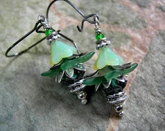 Shamrock Flower Drop Earrings, Jade & Emerald Colors, Dainty Lightweight Earrings, Colorful Boho Chic, 25 and under Gift, Elksong Jewelry