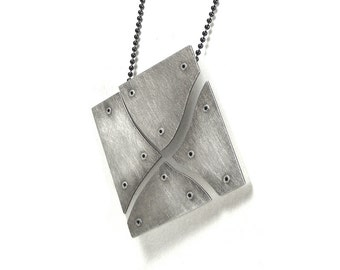 Oxidized Sterling Silver and White Resin Riveted Pendant Necklace - Illusive