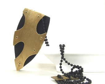 Oxidized Brass and Black Resin Riveted Pendant Necklace - Memento