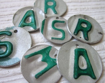Recycled Tin Discs Charms Tokens Tags -  Metal License Plate Pairs - Outsider Art Jewelry Supply