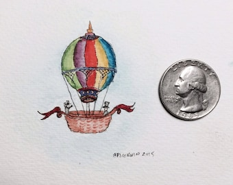 Hot Air Balloon - Original Miniature Painting