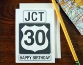 letterpress jct 30 birthday greeting card happy 30th birthday sign