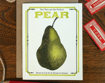 letterpress you two are the perfect pear greeting card farmers market vegan vegetarian vintage pear seed packet sweet as can be