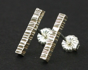 Textured Sterling Studs, Silver Stick Stud Earrings, Sterling Stud Earrings