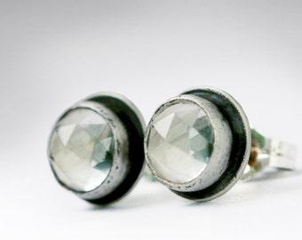 Clear Quartz Stud Earrings, Quartz Stud Earrings, Quartz Studs, Diamond like earrings