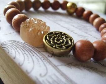 Druzy Bracelet, Rosewood Beads, Natural Wood, Champagne Color, Floral Brass Bead, Sparkling Druzy, Quartz Druzy, candies64