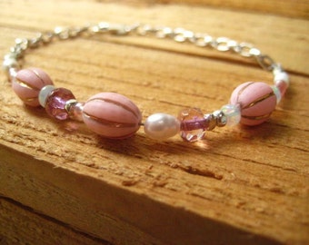 Pink Bracelet, Sterling Silver, Vintage Pink Beads, Opal Beads, Karen Hill Trib, Faceted glass Beads, White Pearls, Womens Jewelry
