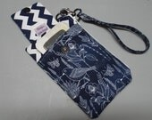 Women's Small Wristlet or Bag Moody Blues Fabric