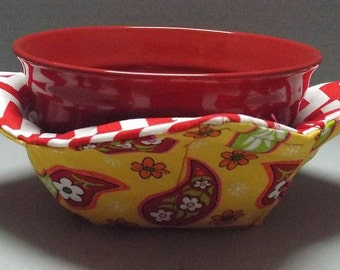 Microwave Bowl Warmer or Potholder Touch of Paisley Fabric
