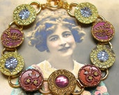 "French BUTTON bracelet, Edwardian Flowers in pink on gold, 7.5"" Antique button jewellery."